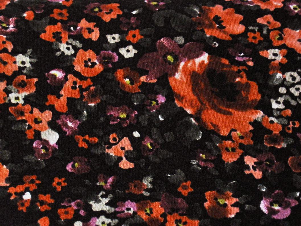 ViskoseJersey Blumen orange/lila - Stoffe, Schnittmuster & Nähzubehör