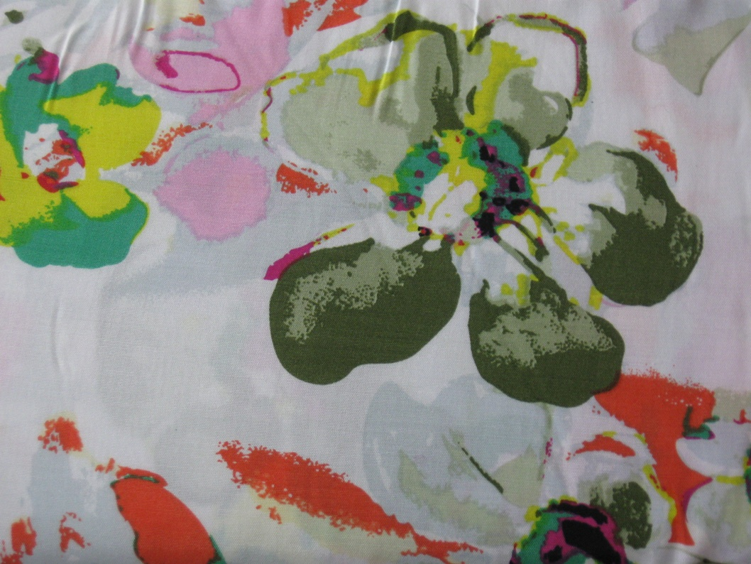 leichte Baumwolle - Blumen orange auf weiss - Stoffe, Schnittmuster ...